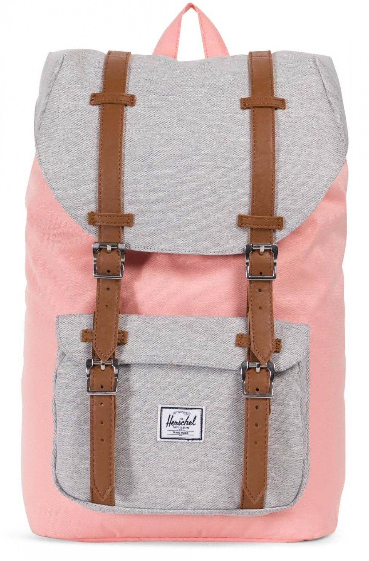 Herschel Little America Mid Backpack 600D Poly Peach Light Grey  Crosshatch Tan f66024dad1cd2