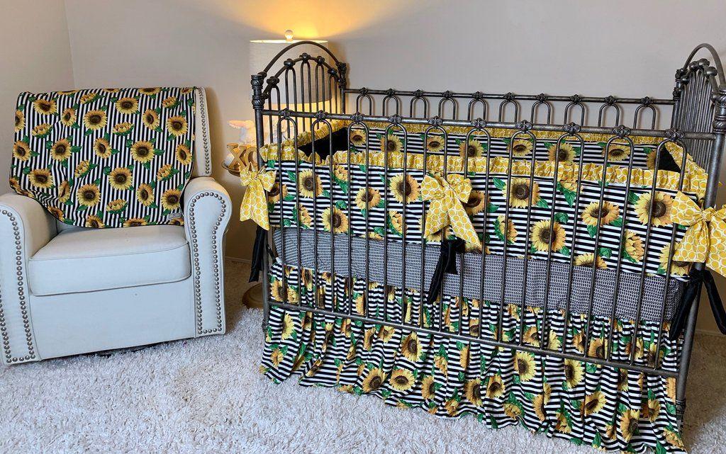 Pin On Baby Shower, Sunflower Crib Bedding