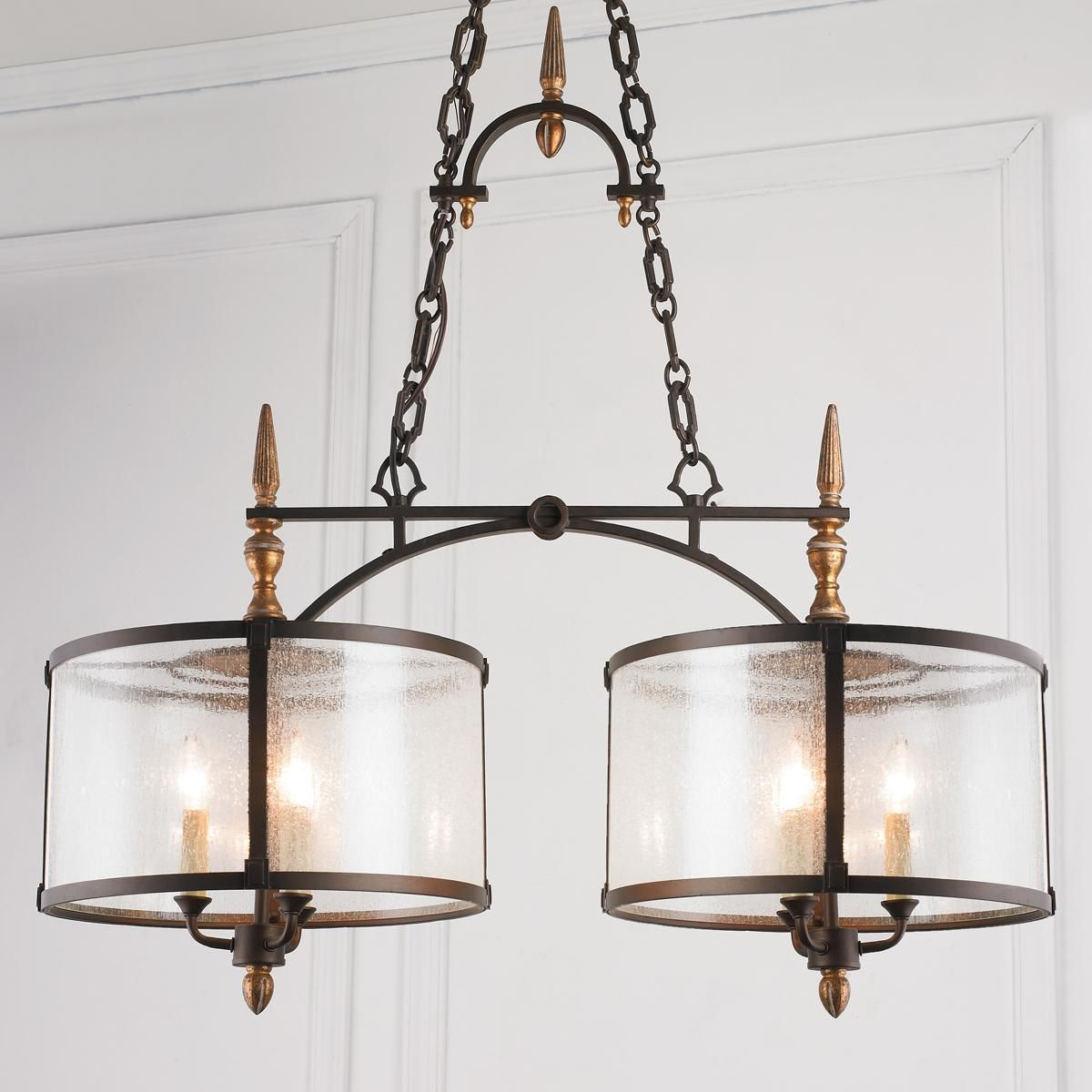 Old World Dining Room Chandeliers: Seeded Glass And Bronze Island Chandelier With The Allure