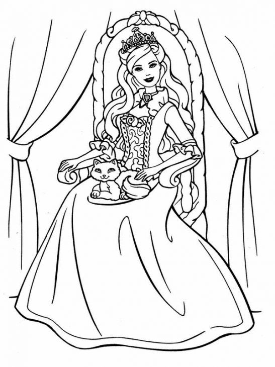 Princess Barbie With A Cat Coloring Page Online Printable