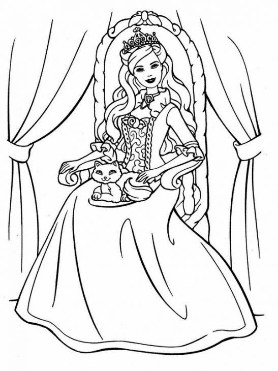 Princess Barbie With A Cat Coloring Page Online Printable Letscolorit Com Desenhos Para Colorir Pintura Para Criancas Paginas Para Colorir Da Disney