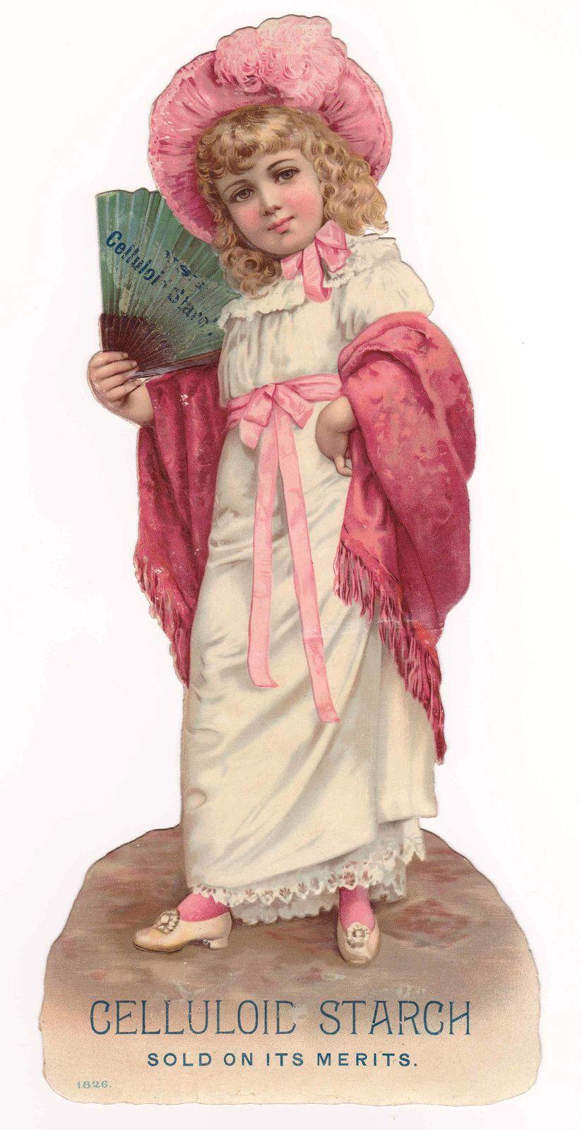niña chica postal abanico Victorian Girl in Pink