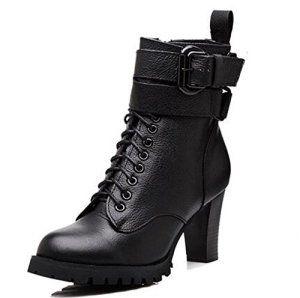 27d788fd298 OALEEN Bottine en Cuir Vrai Lacets Zip Boucle Amovible Bottes Boots Talon  Haut Bloc Plateforme Motard Hiver Femme