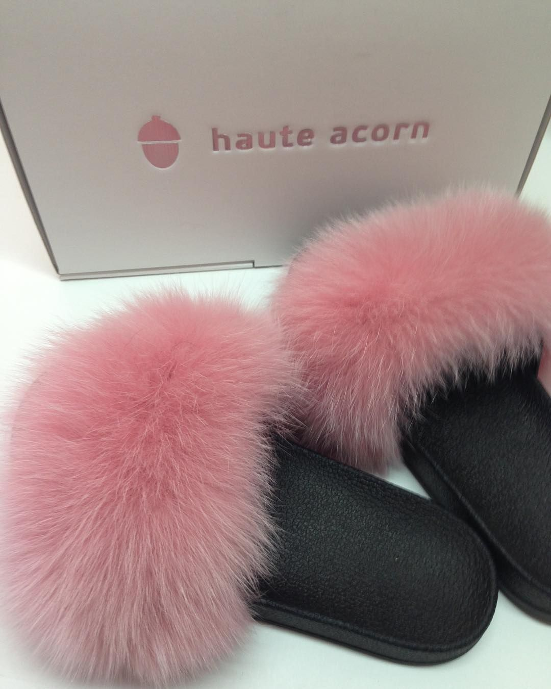 42921502dcd7 Pink Fox Fur Slides