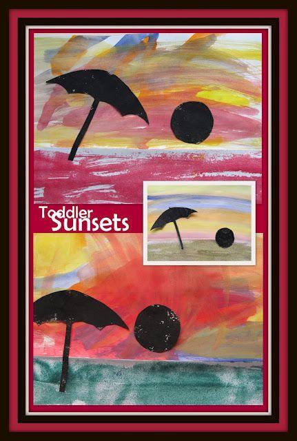 Beach Week Paintings By Toddlers Ocean Sundown Art For Children