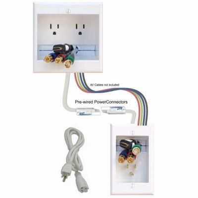 Powerbridge In Wall Dual Power And Cable Management Kit For Wall Mounted Hdtv Two Ck At The Home Cable Management Wall Wall Mounted Tv Cable Management System