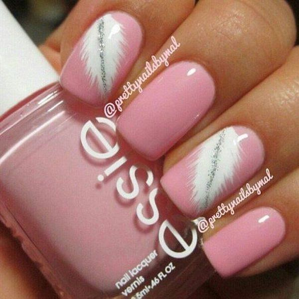 50 lovely pink and white nail art designs pink white feather 50 lovely pink and white nail art designs prinsesfo Gallery