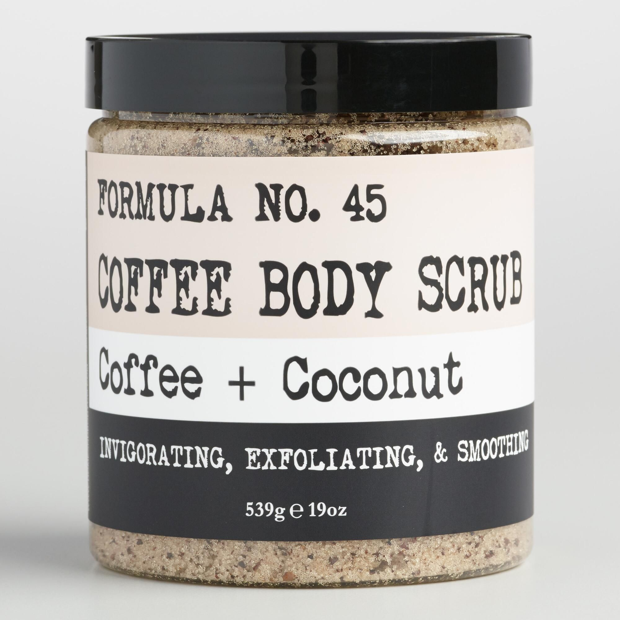 Coffee and coconut body scrub with images coconut body