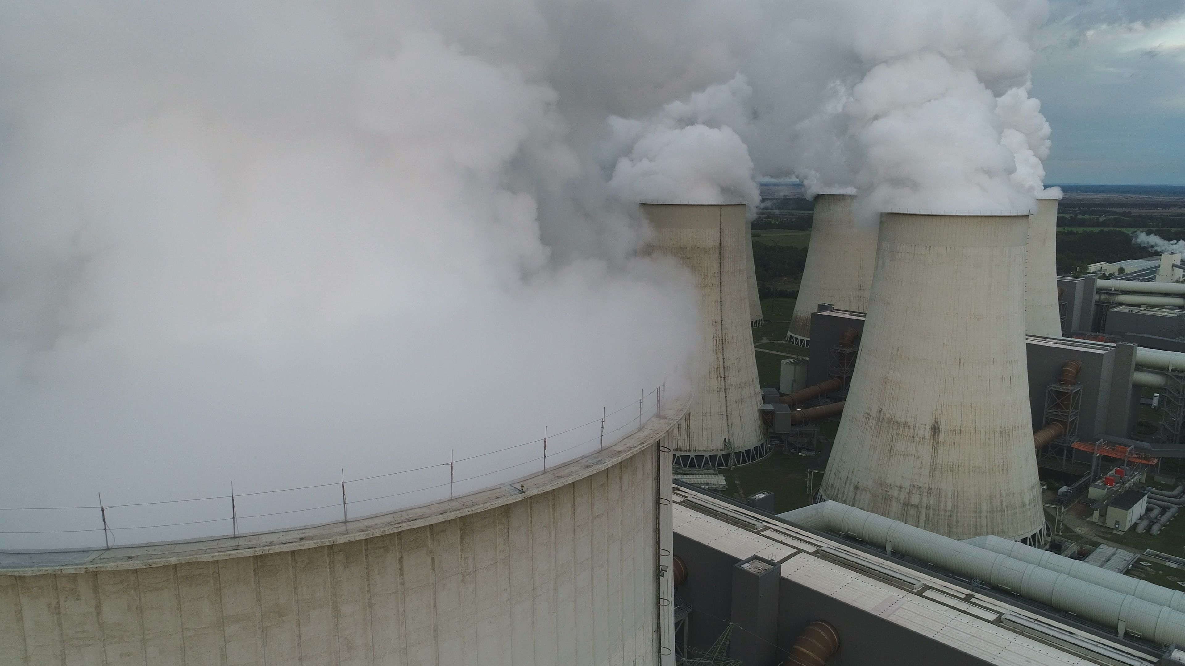 Drone Shot Cooling Towers Power Plant Environmental Damage