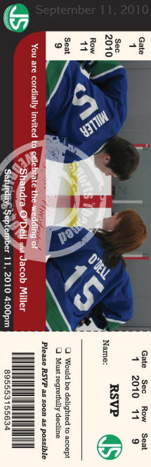 Hockey ticket invitations with RSVP ticket stub - I really like this couple's photo!