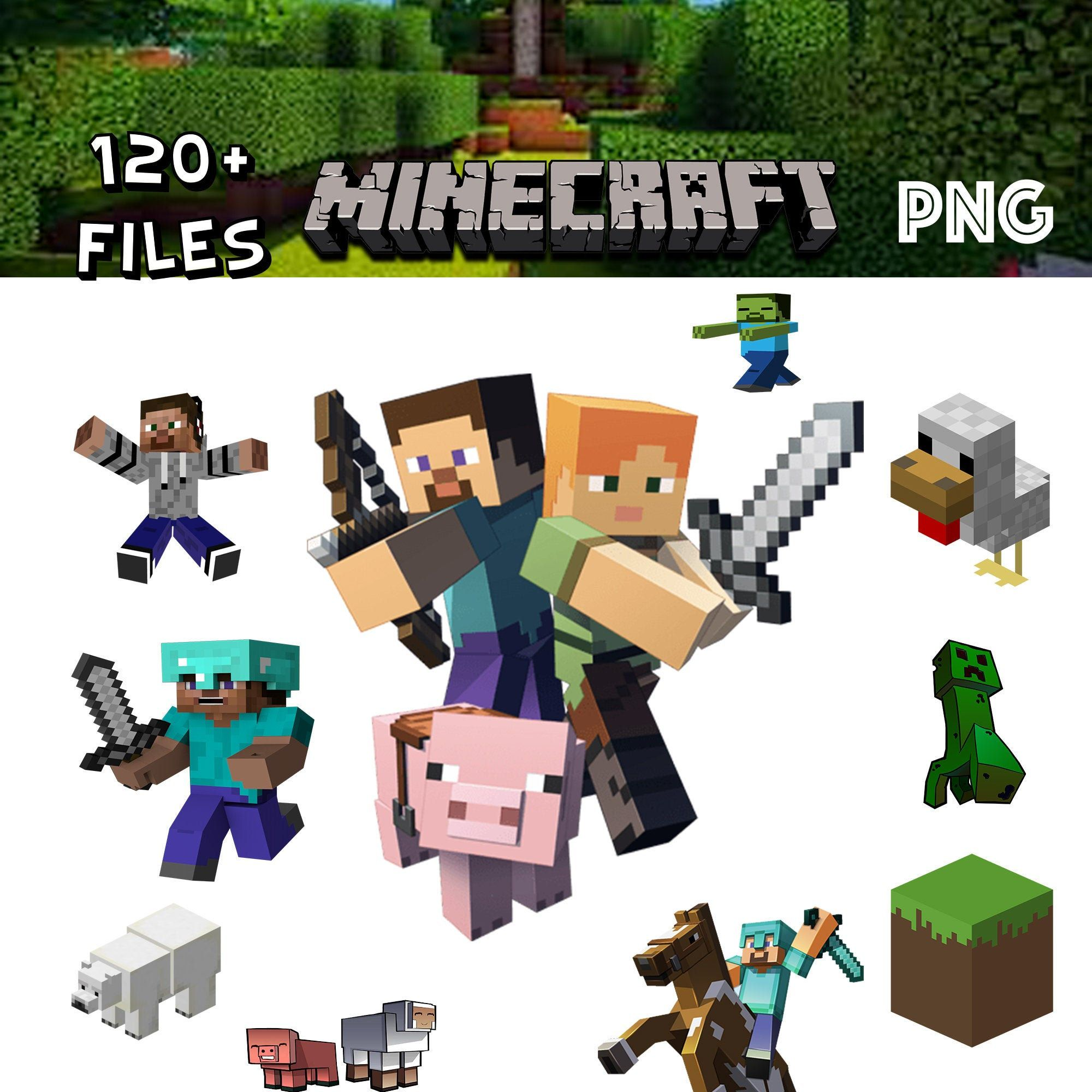 Minecraft Inspired Transparent Background Set Png Clipart Digital Download Creeper Block Herobrine Zombie Steve Alex Wither By Clip Art Digital Inspiration
