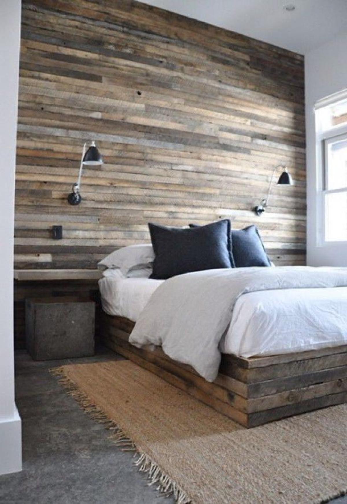 Wood Panel Wall Bedroom