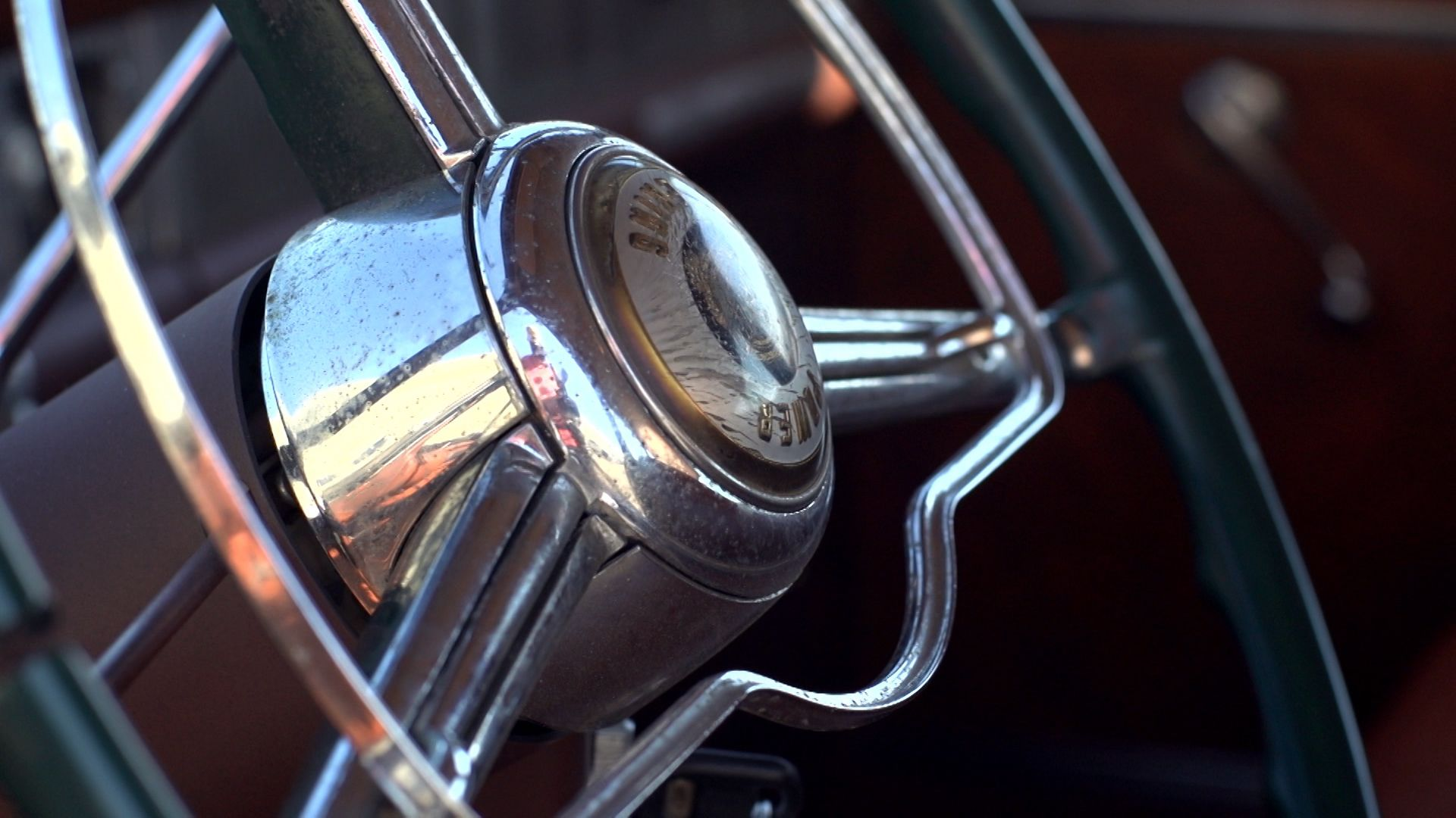 A classic old vintage steering wheel, but all scratched up and with rust accents- perfect for a derelict.