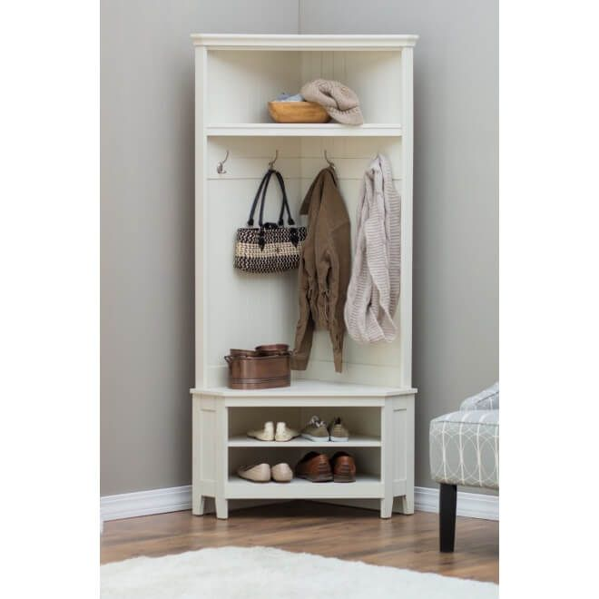 Combined Hallway Storage Unit Designed To Fit Snugly In A Corner