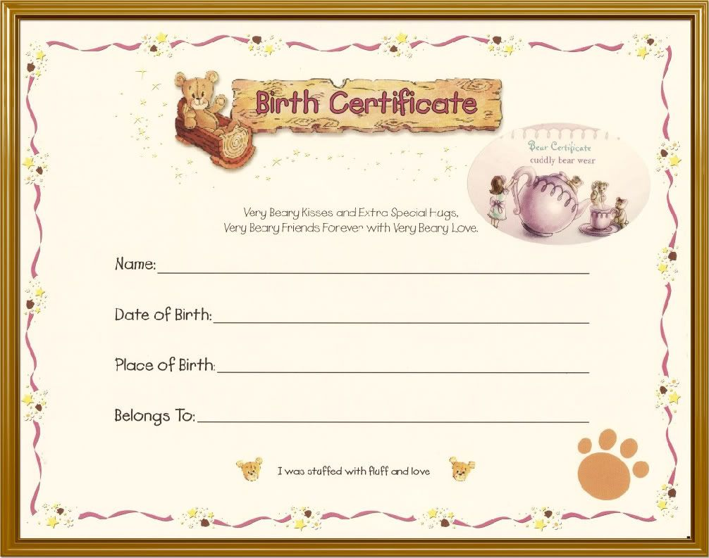 teddy bear birth certificate