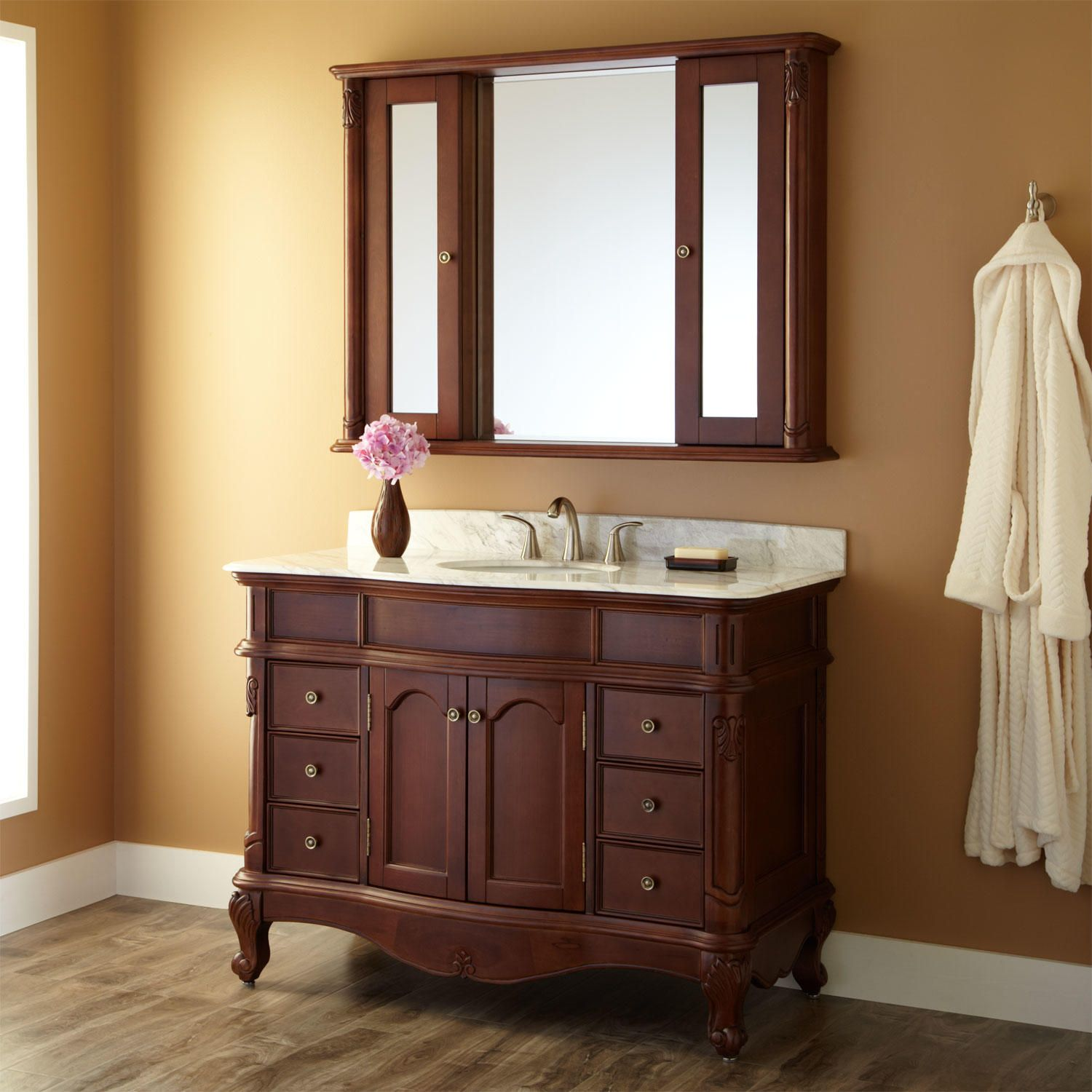 48 Sedwick Brown Cherry Vanity Carrara Marble Top And Medicine Cabinet