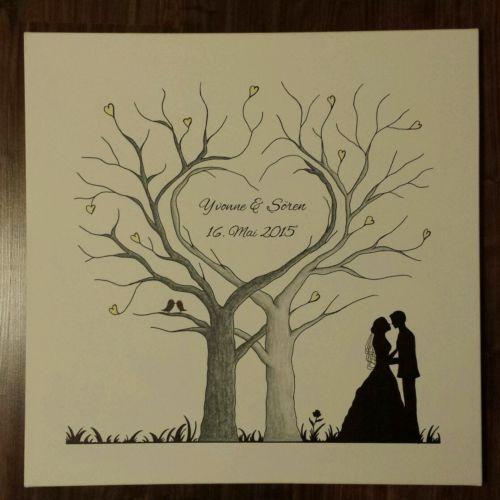 herz wedding tree hochzeit baum gastebuch fingerabdruck geschenk leinwand anregungen. Black Bedroom Furniture Sets. Home Design Ideas