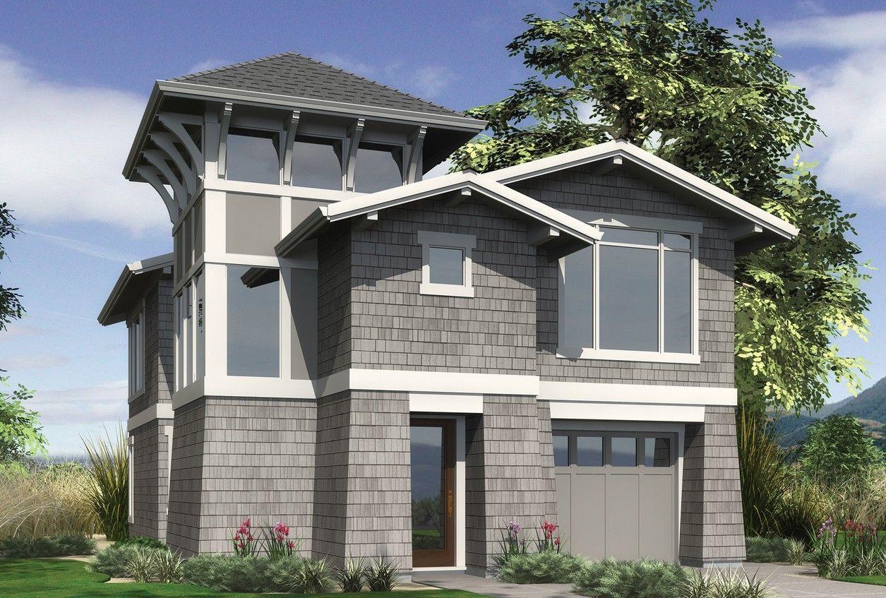 View-grabbing Narrow Lot Design. Plan 22165 The Parkridge is a 2044 ...
