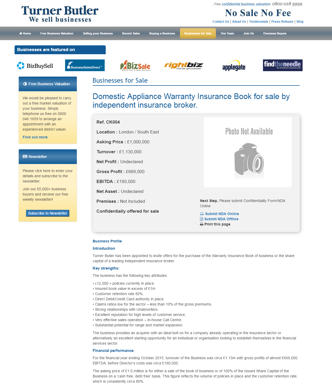 Business For Sale Domestic Appliance Warranty Insurance Book For