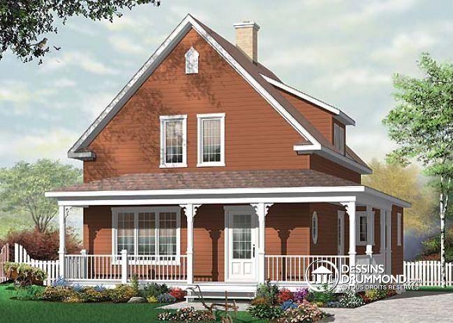 W3512 maison champ tre avec galerie couverte 3 grandes for Maison eplans