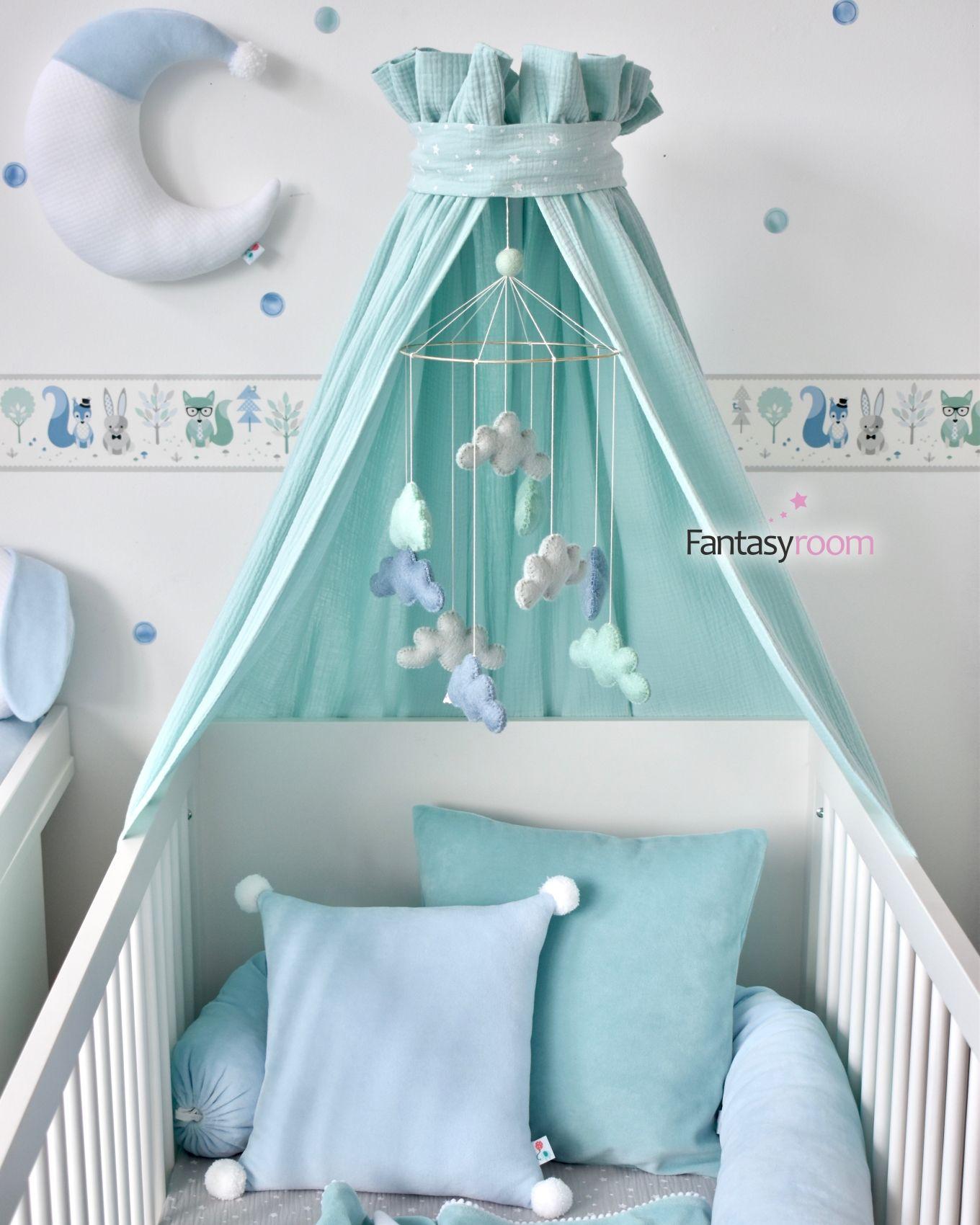 Babykissen aus Samt in Hellblau & Mint
