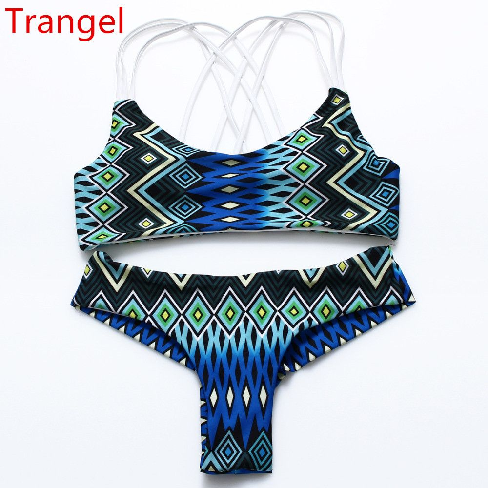 2019 Swimsuit Bikini Halter Padded Top Aztec Geometric Stripe Top Swimwear M-2XL