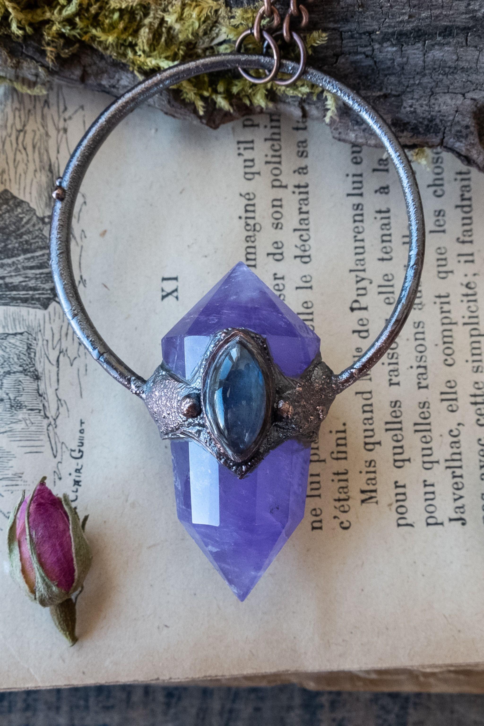 labradorite jewelery crystal necklace Rare purple Labradorite /& Moonstone necklace with solder stud embellishment crystal jewellery
