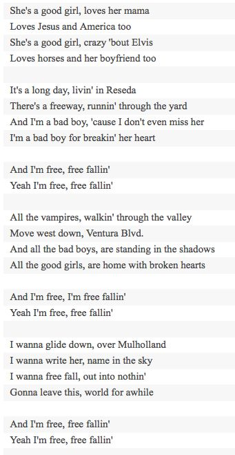 Free Fallin Tom Petty Lyrics Pinterest Toms Music Lyrics