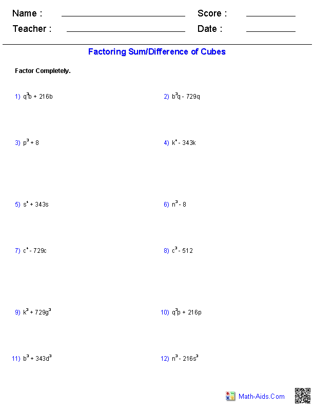 Factoring A Sumdifference Of Cubes Polynomial Functions Worksheets