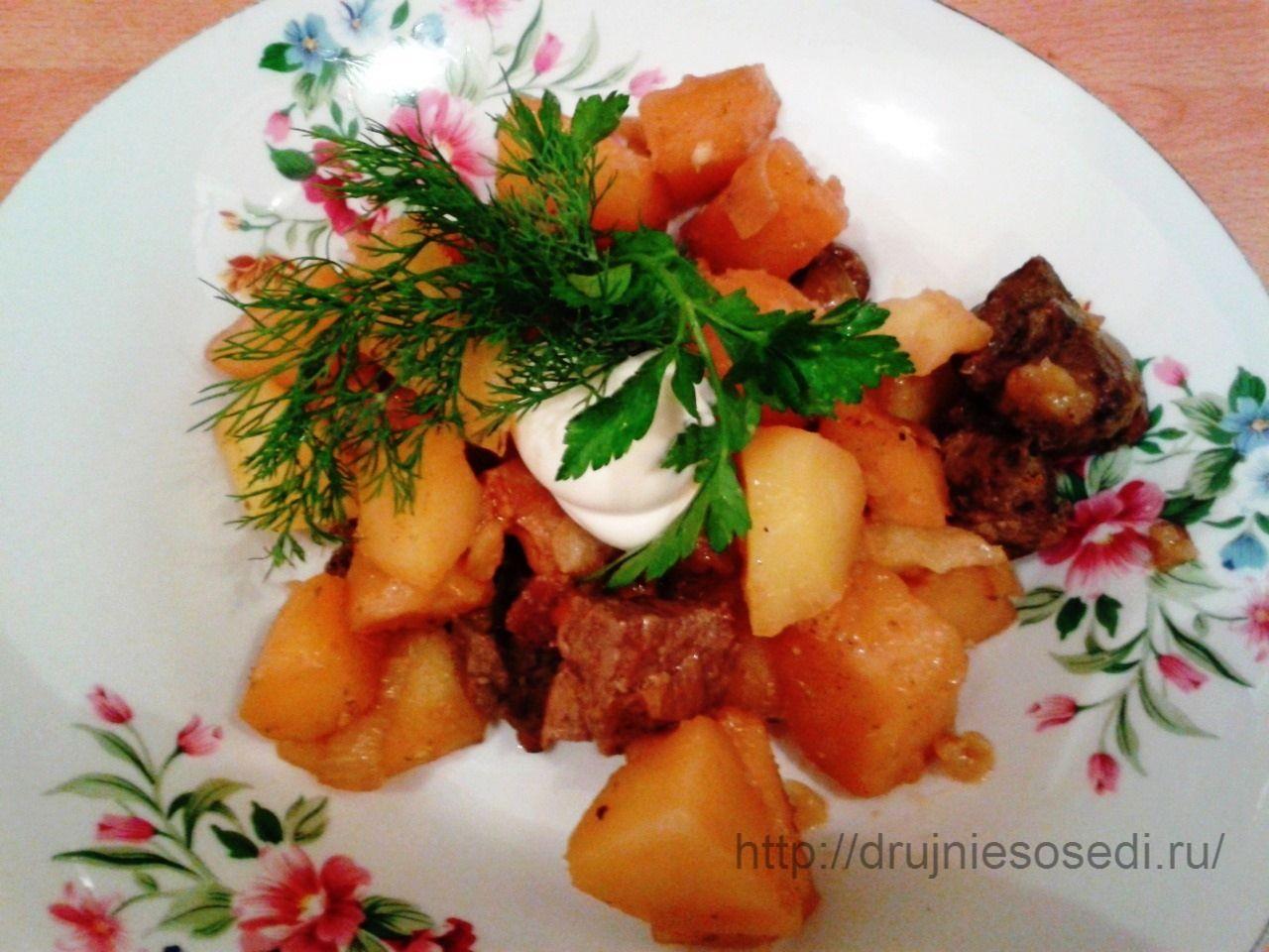 жаркое из печени с картофелем «По-деревенски» | Картофель ...