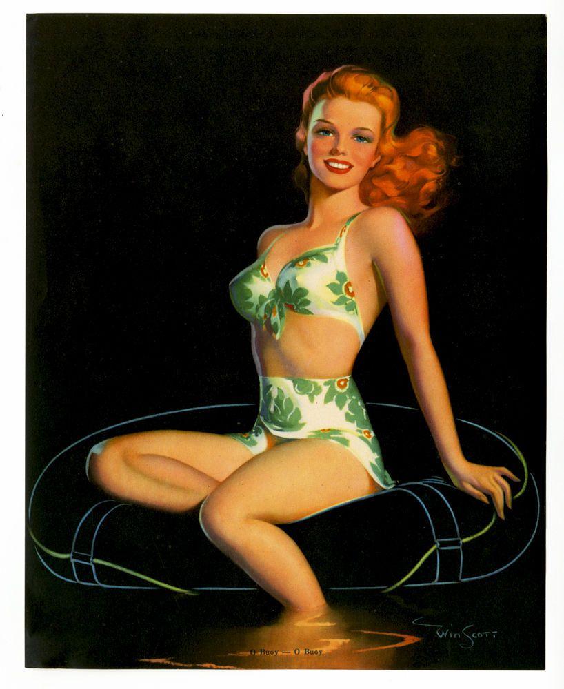 Win Scott 1940s Buxom Bikini Clad Bathing Beauty O Buoy - O Buoy Pin-Up Print NR
