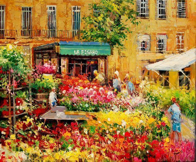 March Aux Fleurs Aix En Provence  Painting X Cm  Par