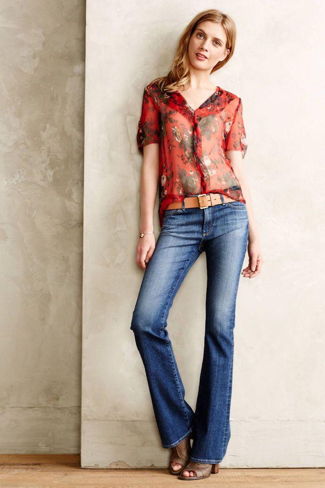 Anthropologie AG Stevie Midrise Bootcut Jeans Sz 29, Medium Blue Denim Boot Cut #AGAdrianoGoldschmied #BootCut