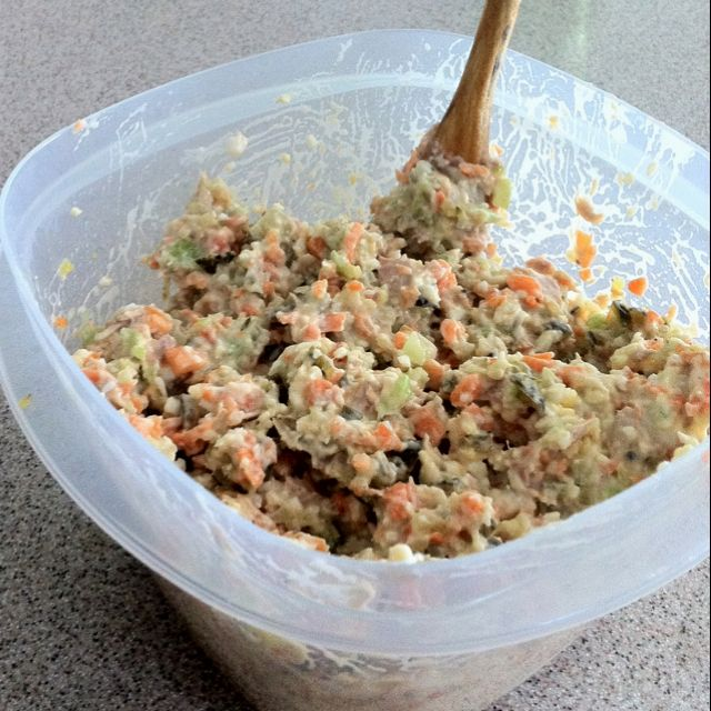 Tuna Salad Celery Carrots Boiled Eggs And Pickles Mixed With Tuna
