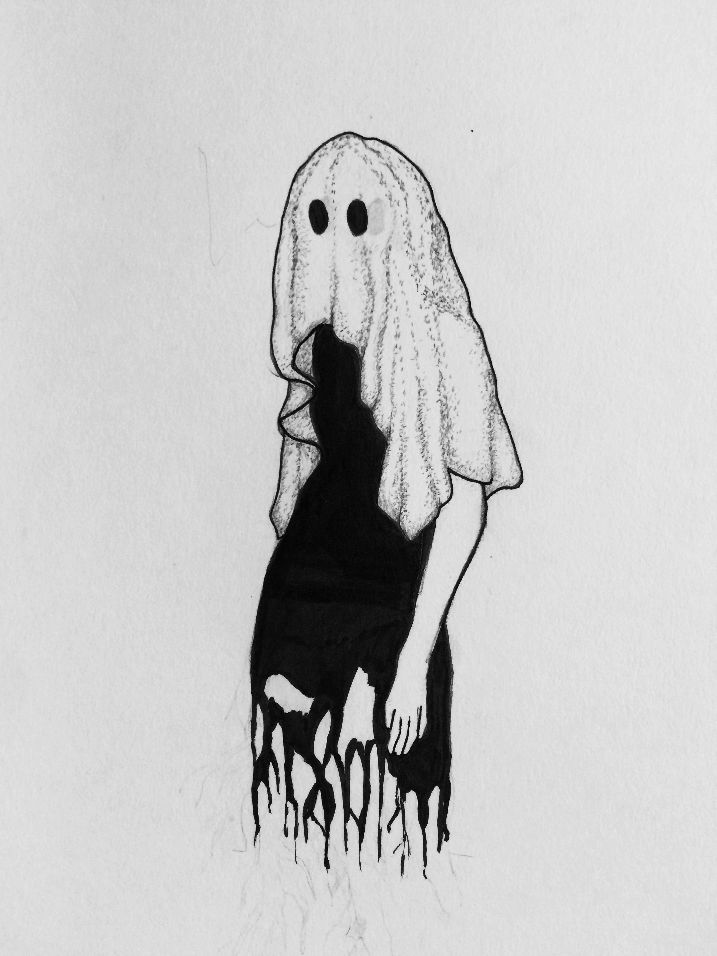 Bedsheet ghost 85 x 11 ink on paper dark art drawings