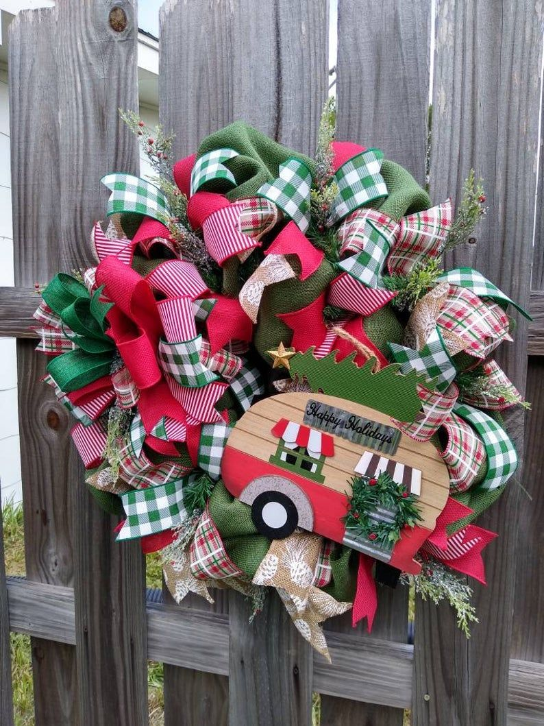 Camper Wreath, Christmas Camper Wreath, Farmhouse Trailer