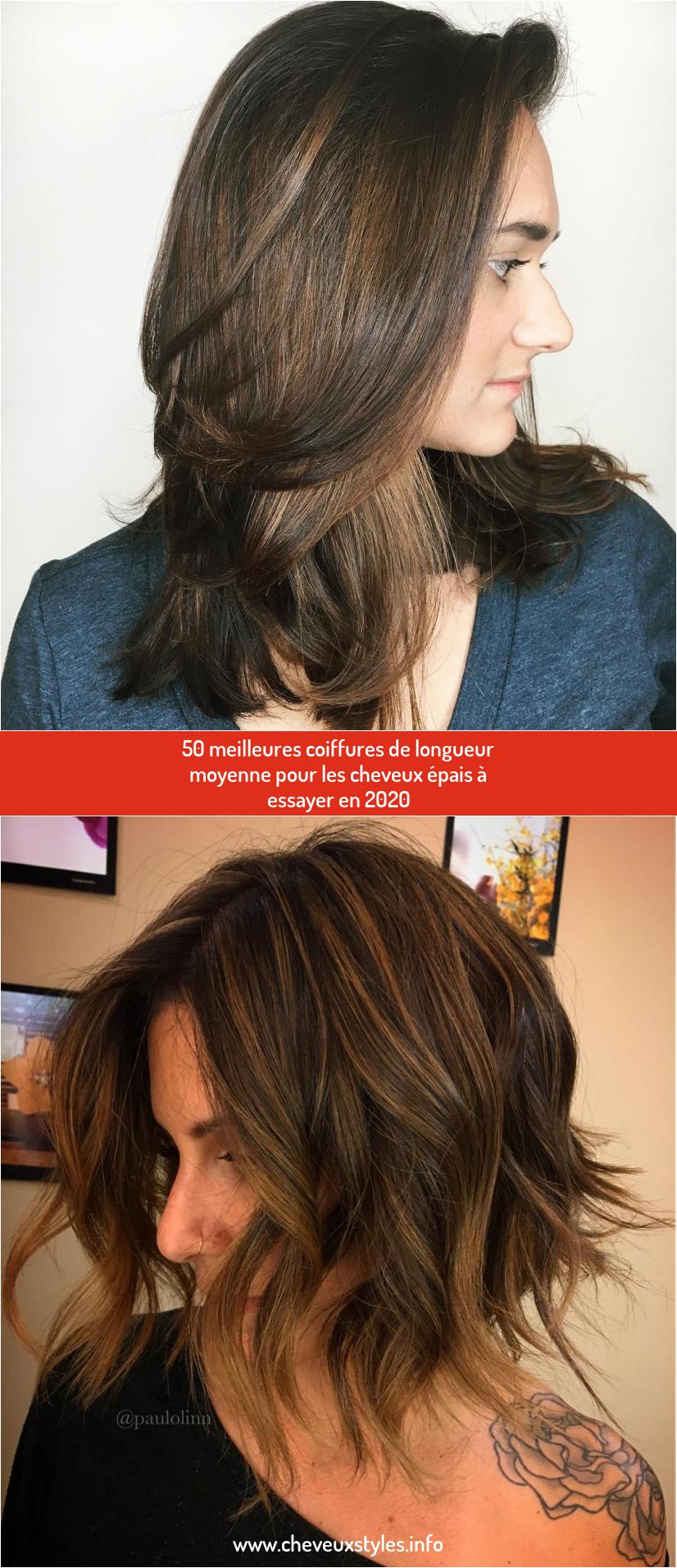 50 Meilleures Coiffures De Longueur Moyenne Pour Les Cheveux Epais A Essayer En 2020