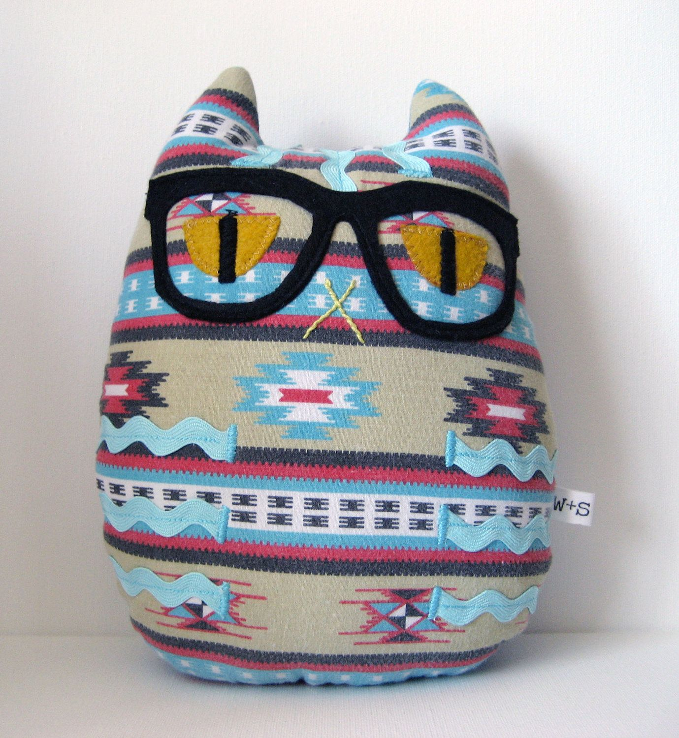Hipster Cat Pillow Plush  // Teal Blue Red // Southwestern. $24.00, via Etsy.