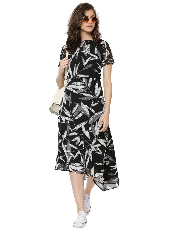Femella Black Floral Asymmetric Midi Dress  56ec71632c