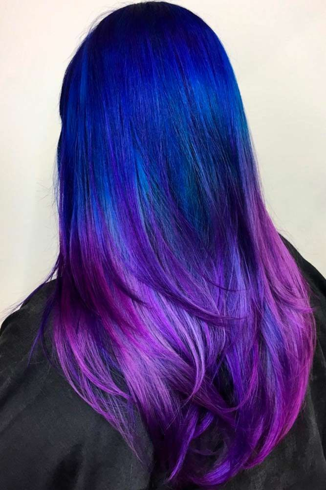 60 Fabulous Purple And Blue Hair Styles Lovehairstyles Com Hair Styles Blue Ombre Hair Hair Color Blue
