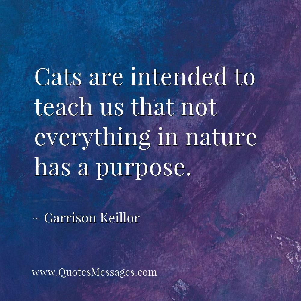 Cats Are Intended To Teach Us That Not Everything In Nature Has A Purpose Garrison Keillor Quote Quotes Inspirational Quotes Famous Inspirational Quotes