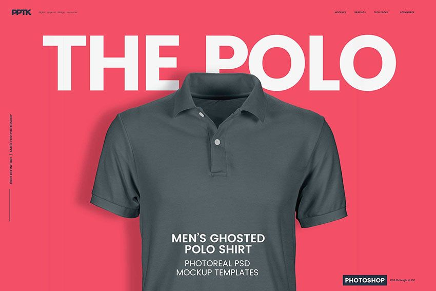 Download Men S Ghosted Polo Shirt Mockups