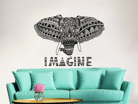 Elephant Wall Decal Vinyl Stickers Imagine Yoga Ganesh Decals Tribal Buddha Lotus Om Home Decor Elephant Wall Art Boho Bedding Bedroom