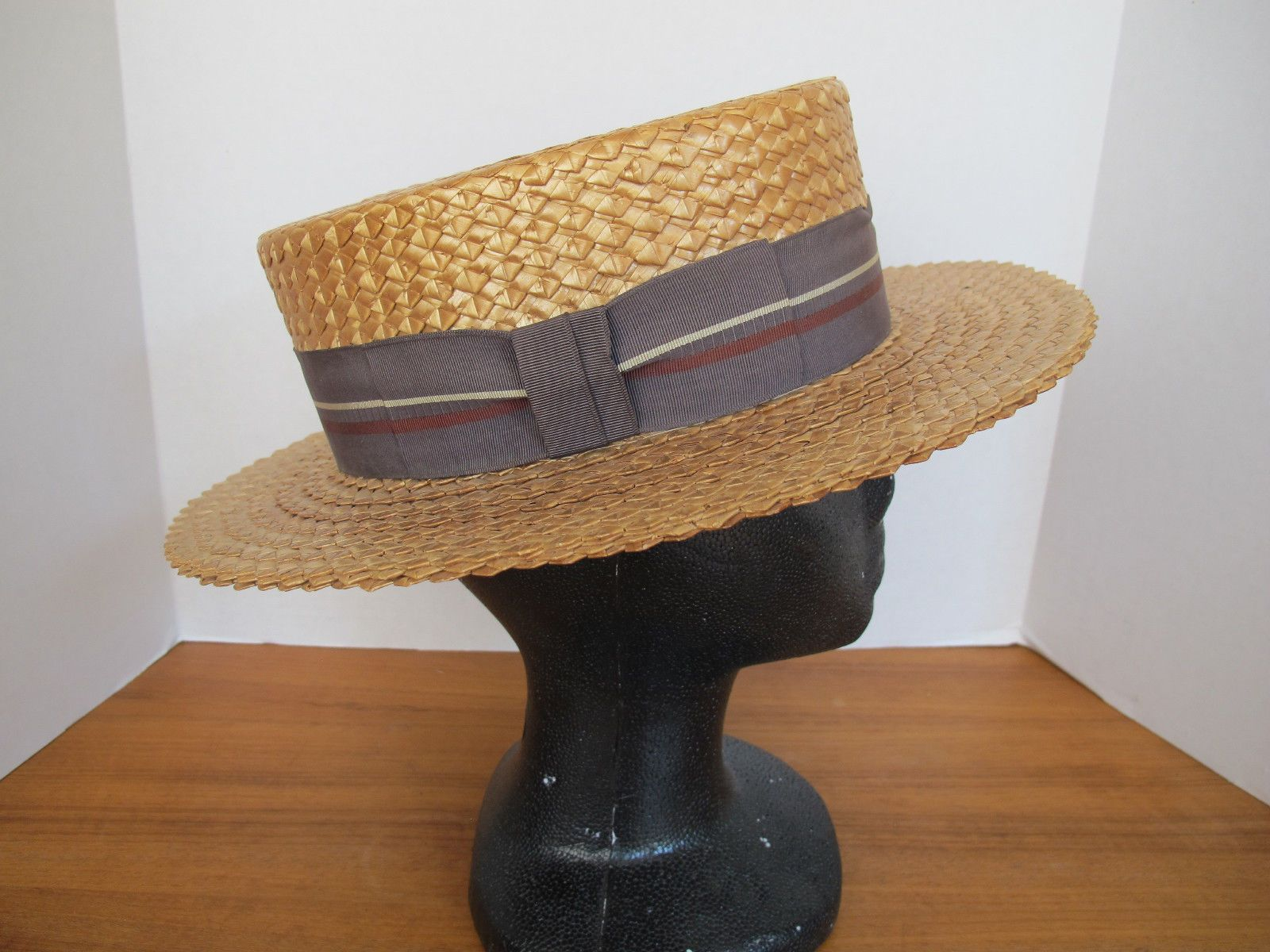 Vintage Antique Straw Boater Hat Mens Skimmer Mallory New York 6 7 8 ... 748226229ec
