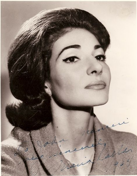 Maria Callas Autograph: 'To John Mauceri Very Sincerely