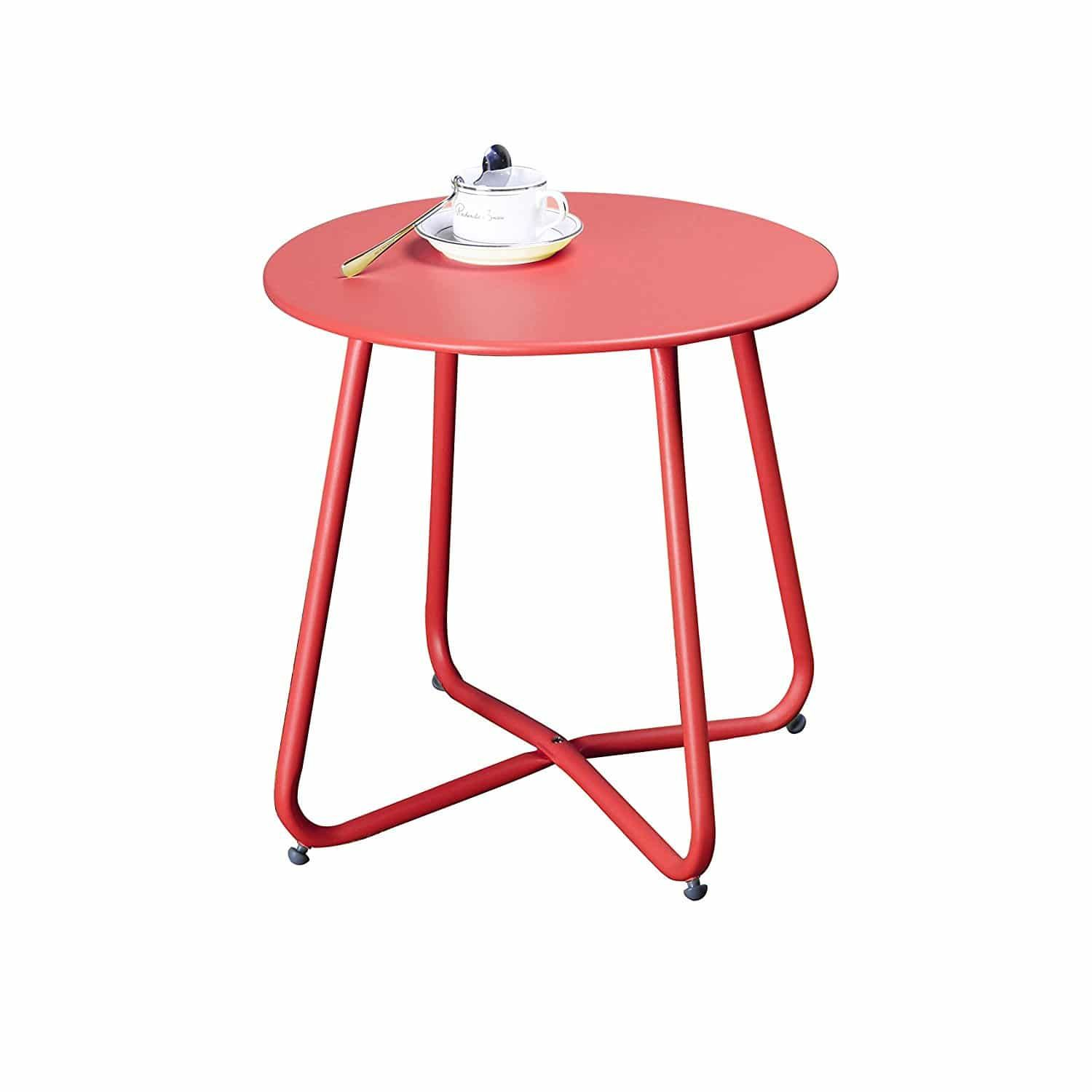 Patio Side Table Metal Outdoor