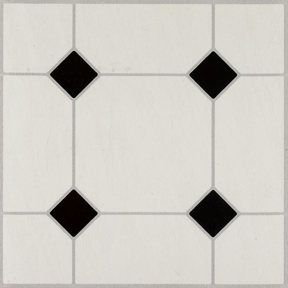 Armstrong Diamond Jubilee Black White 12 In X 12 In Residential Peel And Stick Vinyl Tile Flooring 45 Sq Ft Case 24320061 The Home Depot White Vinyl Flooring Vinyl Tile Peel And Stick Floor