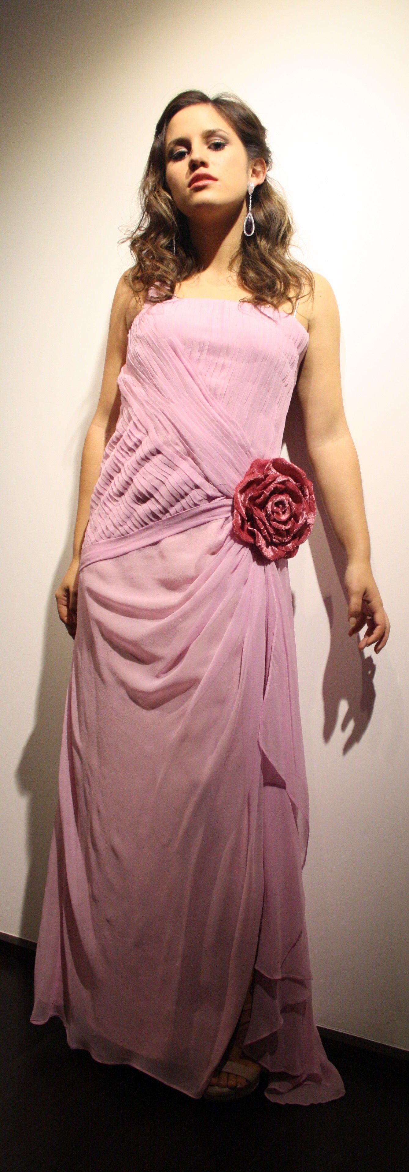 vestido de dama de honor en muselina de seda rosa | Outfit ...