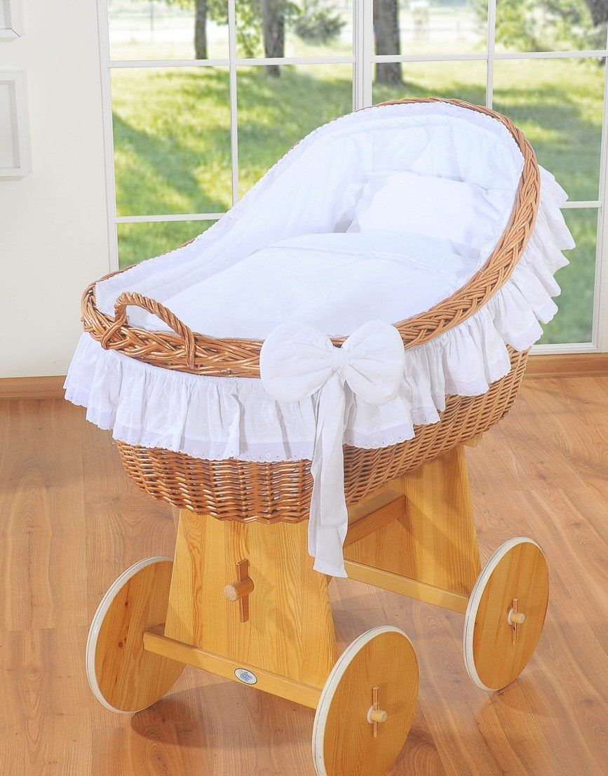 Wicker Baby Basket Bassinet Baby Cot White Moses Basket With
