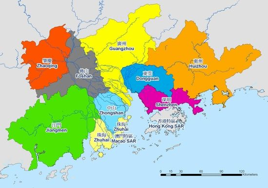 Map of the Pearl River Delta region in Guangdong, China The PRD has - copy kosovo map in world